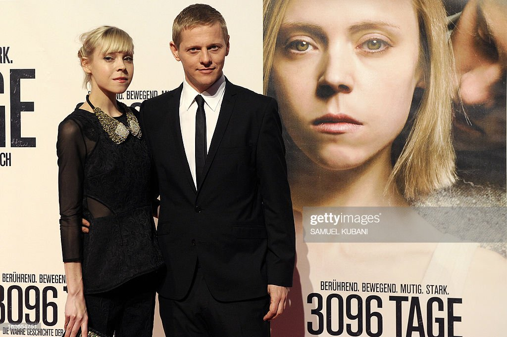British actress Antonia Campbell-Hughes (L) and Danish actor Thure Lindhardt pose for photographers as they arrive for the premiere of the film '3,096 Days' based on the story of Austrian kidnap victim Natascha Kampusch on February 25, 2013 in Vienna.