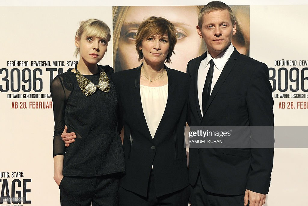British actress Antonia Campbell-Hughes, German director Sherry Hormann and Danish actor Thure Lindhardt pose for photographers as they arrive for the premiere of the film '3,096 Days' based on the story of Austrian kidnap victim Natascha Kampusch on February 25, 2013 in Vienna.