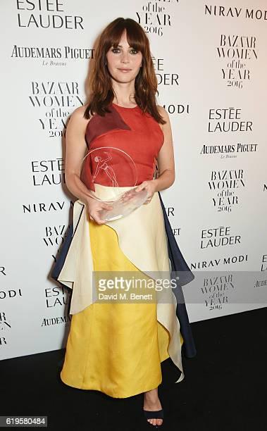 British Actress award winner Felicity Jones attends the Harper's Bazaar Women of the Year Awards 2016 at Claridge's Hotel on October 31 2016 in...
