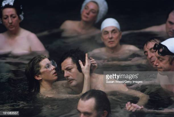 British actress Billie Whitelaw and Italian actor Marcello Mastroianni on the set of 'Leo the Last' England 1970