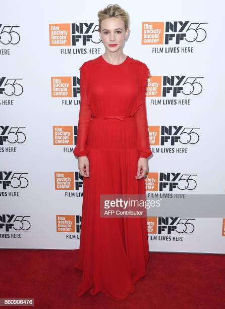 British actress Carey Mulligan attends the 'Mudbound' screening during the 55th New York Film Festival at Alice Tully Hall on October 12 2017 in New...