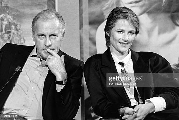 British actress Charlotte Rampling and French actor Michel Serrault attend a TV broadcast show on TF1 channel on September 22 1985 in Paris AFP PHOTO...
