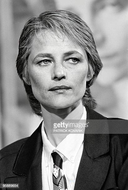 British actress Charlotte Rampling attends a TV broadcast show on TF1 channel on September 22 1985 in Paris AFP PHOTO PATRICK KOVARIK