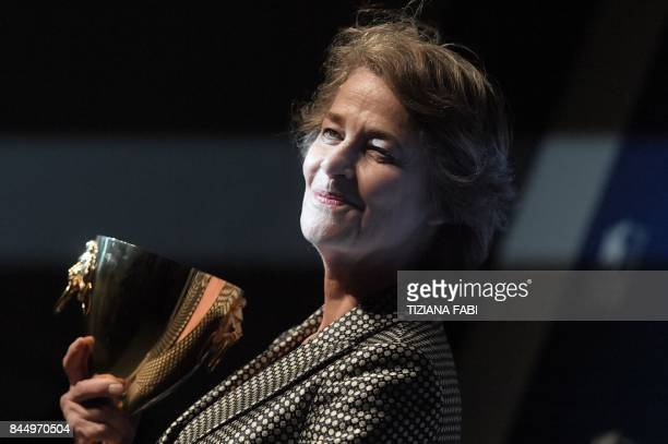 British actress Charlotte Rampling poses during a photcall after she receives the Coppa Volpi for Best Actress for her character in the movie...