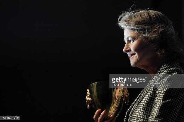 British actress Charlotte Rampling poses during a photocall after she receives the Coppa Volpi for Best Actress for her character in the movie...