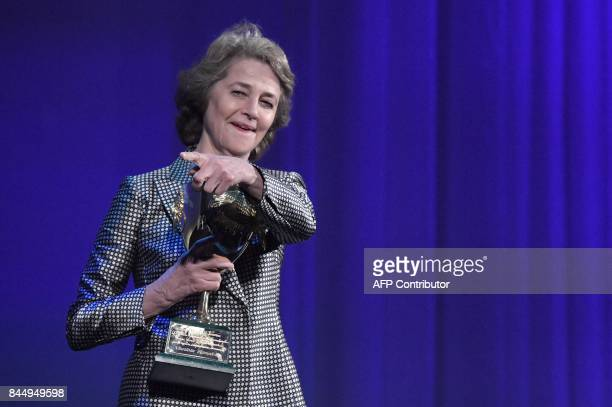 British actress Charlotte Rampling receives the Coppa Volpi for Best Actress for her character in the movie 'Hannah' during the award ceremony of the...