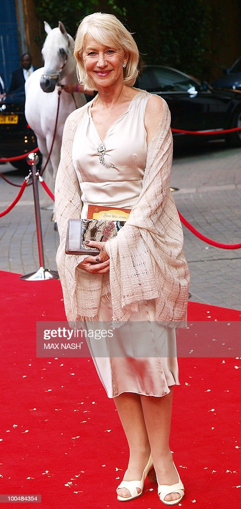 British actress Dame Helene Mirren arrives to attend the Royal Premiere of Arabia 3D in London's South Bank, on May 24, 2010. AFP Photo/MAX