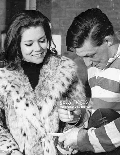 British actress Diana Rigg at a rugby league match between Leeds and Oldham at Headingley Rigg was starring as Emma Peel in the TV series The...