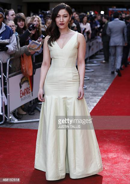British actress Eleanor Matsuura poses for photographers as she arrives for the 2015 Empire Awards in central London on March 29 2015 AFP PHOTO /...