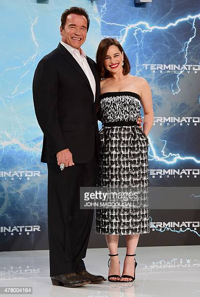 British actress Emilia Clarke and US actor and former governor of California Arnold Schwarzenegger pose for photographers upon arrival for the...