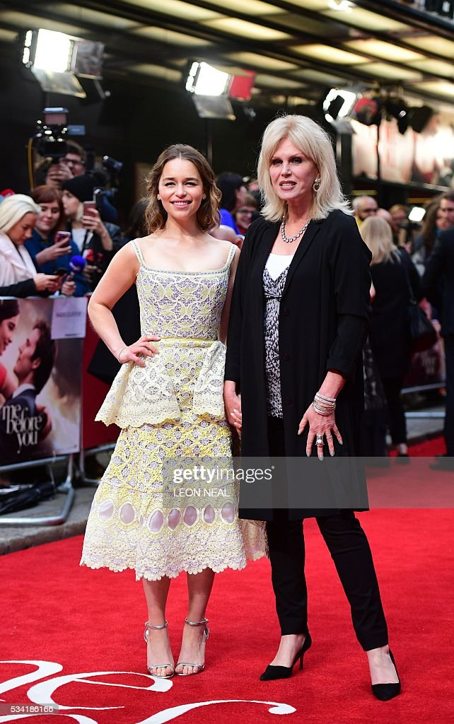 British actress Emilia Clarke (L) poses for pictures with British actress Joanna Lumley as they arrive for the European Premiere of the film 'Me Before You' in central London, on May 25, 2016. / AFP / LEON