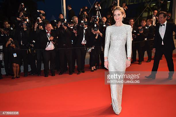 British actress Emily Blunt poses before leaving the Festival palace after the screening of the film 'Sicario' at the 68th Cannes Film Festival in...