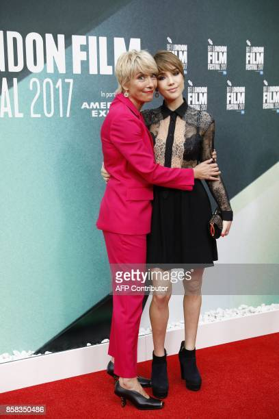 British actress Emma Thompson and her daughter Gaia Romilly Wise pose upon arrival for the UK premiere of the film 'The Meyerowitz Stories' during...