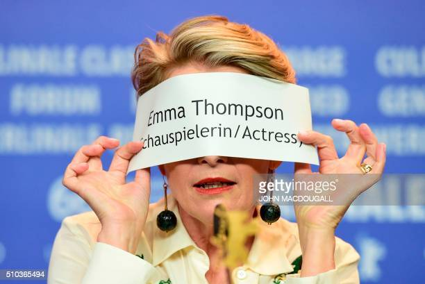 TOPSHOT British actress Emma Thompson gestures during a press conference for the film 'Alone in Berlin' by Vincent Perez screened in competition of...