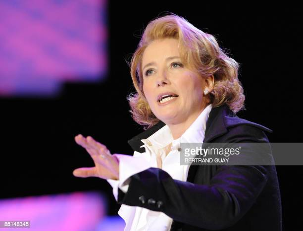 British actress Emma Thompson performs an act at the 34th Cesars French film awards ceremony on February 27 2009 at the Theatre du Chatelet in Paris...