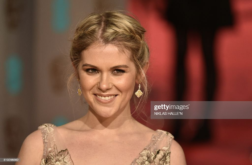British actress Hannah Arterton poses on arrival for the BAFTA British Academy Film Awards at the Royal Opera House in London on February 14, 2016. N