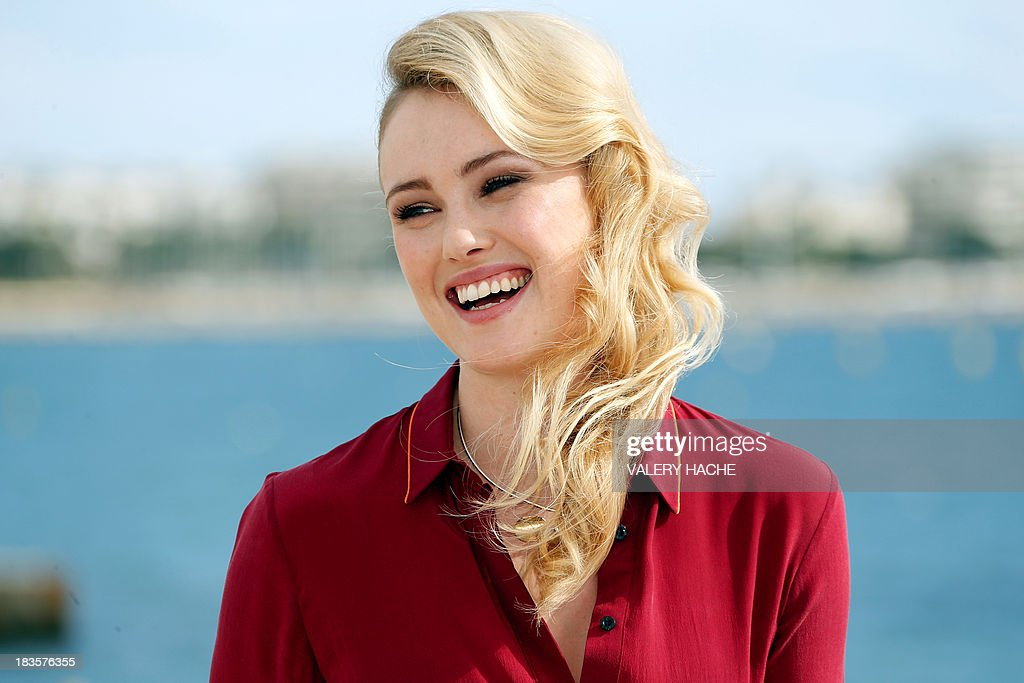 British actress Hannah New poses during a photocall for the TV series 'Black Sails' as part of the Mipcom international audiovisual trade show at the Palais des Festivals, in Cannes, southeastern France, on October 7, 2013.