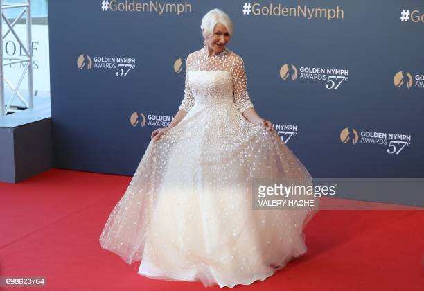 British actress Helen Mirren poses during the closing ceremony of the 57th MonteCarlo Television Festival on June 20 2017 in Monaco / AFP PHOTO /...
