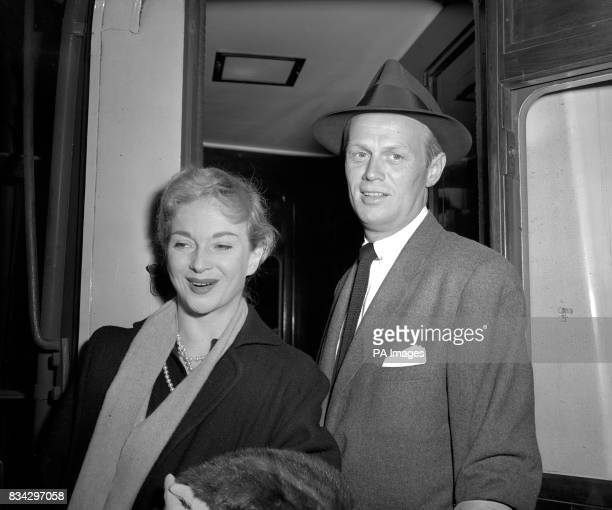 British actress Joan Greenwood and fellow passenger Richard Widmark the Hollywood actor in London after they disembarked from the French liner...