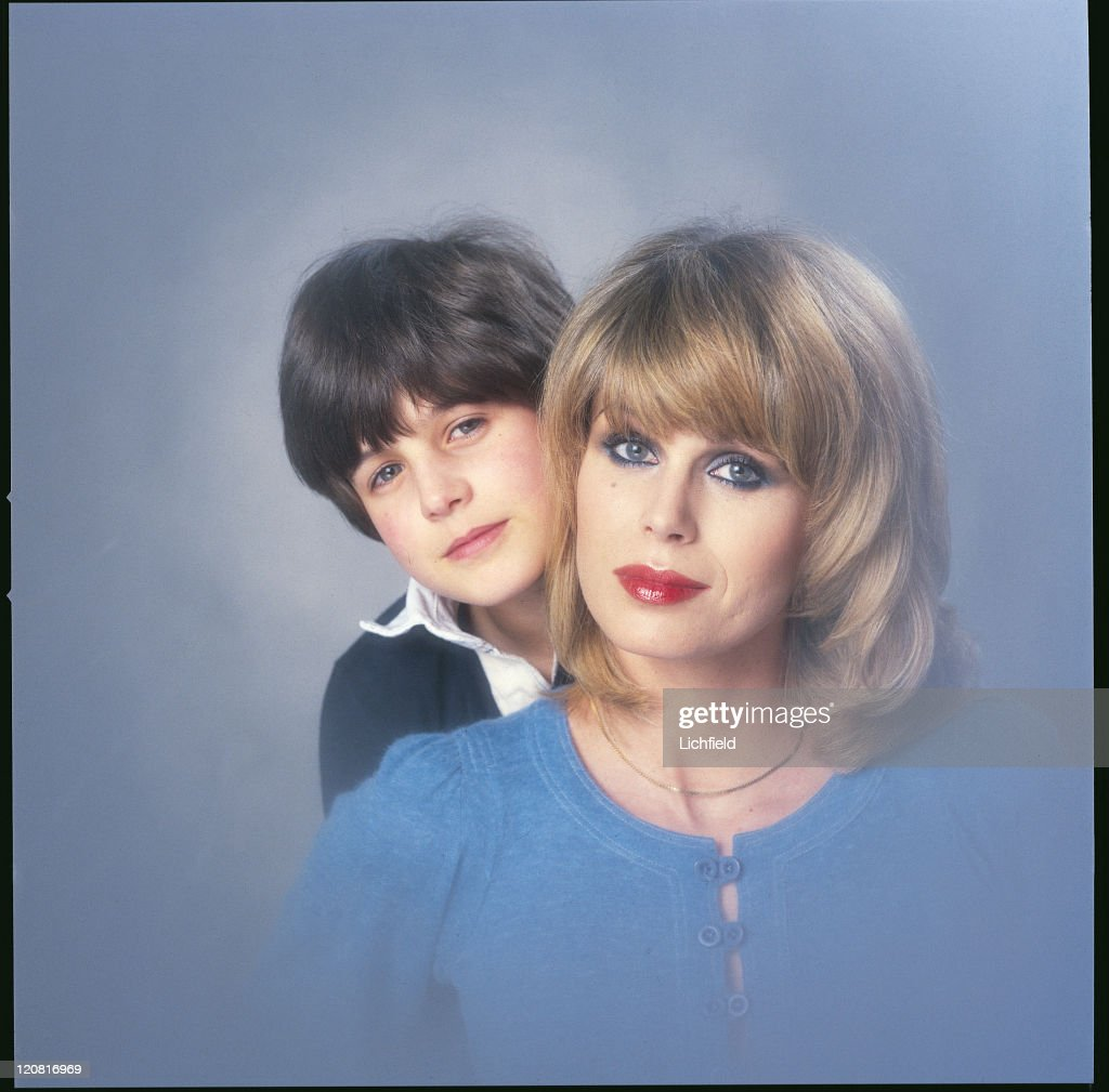 British actress Joanna Lumley, posing with her son Jamie at the Lichfield studio, circa 1977.