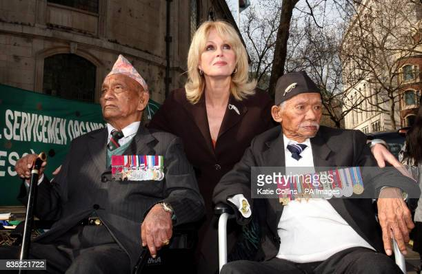 British actress Joanna Lumley with former Gurkha soldiers and holders of the Victoria Cross Lachhiman Gurung right and Tul Bahador Pun left outside...