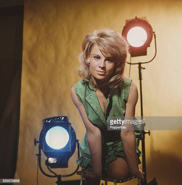 British actress Julie Christie who plays Andromeda in the science fiction television drama A for Andromeda posed in front of studio lights in 1962