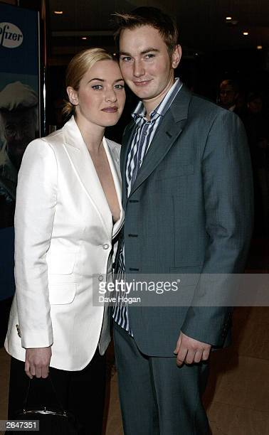 British actress Kate Winslet and her brother attend the film premiere of 'Iris' in Mayfair on January 13 2002 in London