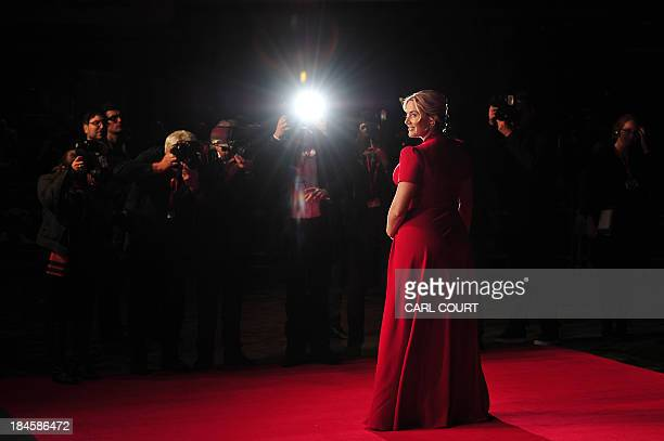British actress Kate Winslet poses for pictured at the gala premiere of the film 'Labour Day' in London's Leicester Square on October 14 2013 AFP...
