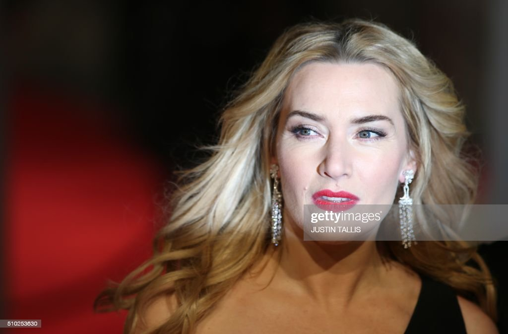 British actress Kate Winslet poses on arrival for the BAFTA British Academy Film Awards at the Royal Opera House in London on February 14, 2016. TALLIS
