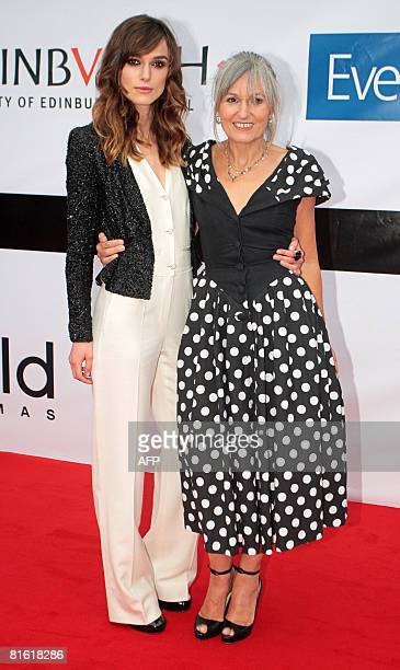 British actress Keira Knightley and her mother Sharman MacDonald pose on the red carpet at Cineworld in Edinburgh Scotland prior to the world...