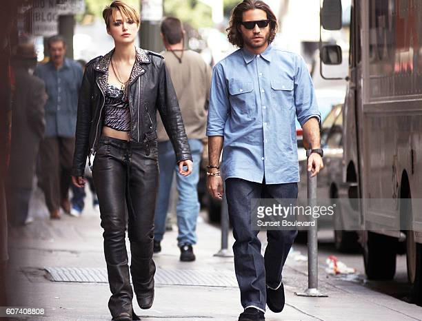 British actress Keira Knightley and Venezuelan actor Edgar Ramirez on the set of Domino directed and produced by Tony Scott