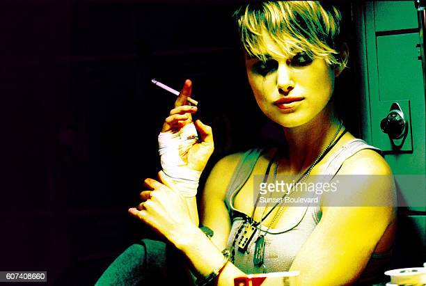 British actress Keira Knightley on the set of Domino directed and produced by Tony Scott