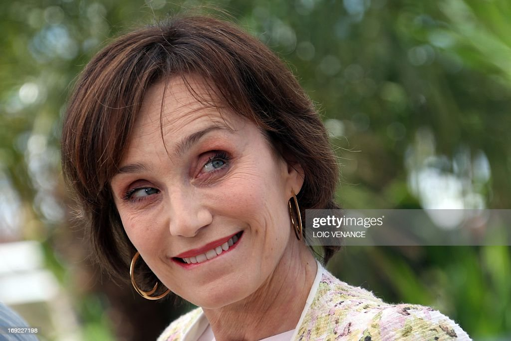 British actress Kristin Scott Thomas smiles on May 22 2013 while posing during a photocall for the film 'Only God Forgives' presented in Competition...