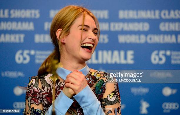 British actress Lily James attends a press conference for the film 'Cinderella' presented in competition of the 65th Berlin International Film...