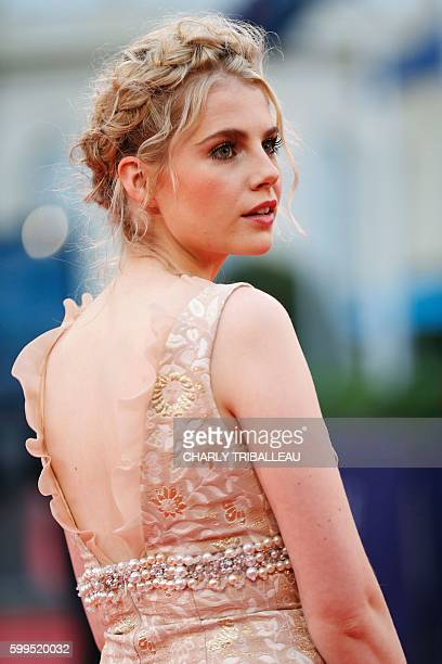 British actress Lucy Boynton poses on the red carpet on the 4th day of the 42nd Deauville US Film Festival on September 5 2016 in the French...