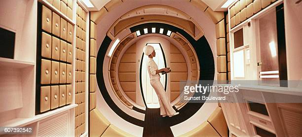 British actress Margaret Tyzack on the set of 2001 A Space Odyssey written and directed by Stanley Kubrick