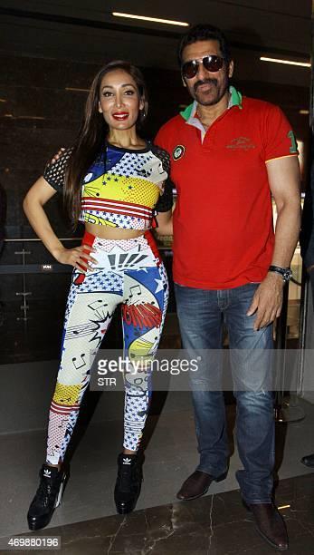 British actress model and singer Sofia Hayat and Bollywood actor Mukesh Rishi attend the press show of Hindi film 'Ek Adbhut Dakshina Guru Dakshina'...
