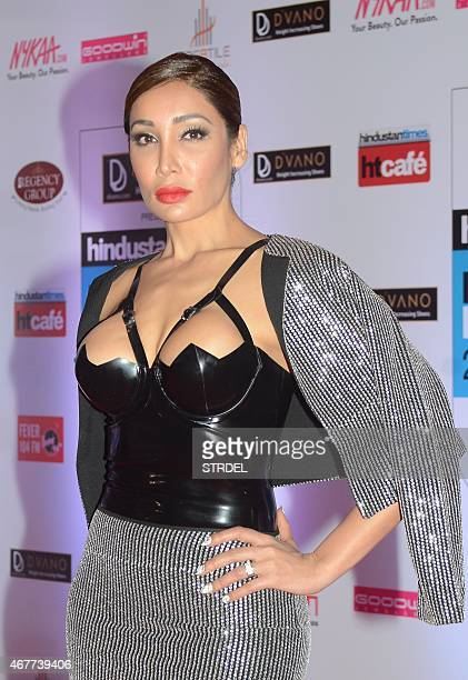 British actress model and singer Sofia Hayat poses as she attends the HT Mumbai's Most Stylish Awards 2015 ceremony in Mumbai late March 26 2015 AFP...