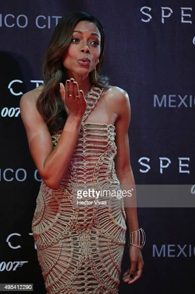 British actress Naomie Harris sends a kiss to the audience during the red carpet of the 'Spectre'film Premiere at Auditorio Nacional on November 02...