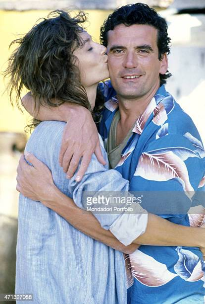 British actress Rachel Ward kissing Italian actor and director Massimo Troisi on the set of the film Hotel Colonial Mexico 1986
