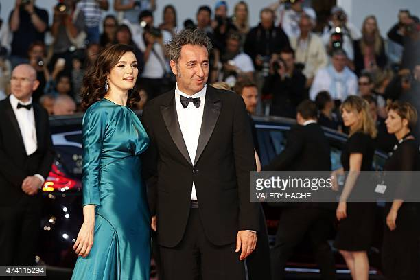 British actress Rachel Weisz and Italian director Paolo Sorrentino pose before leaving the Festival palace after the screening of the film 'Youth' at...