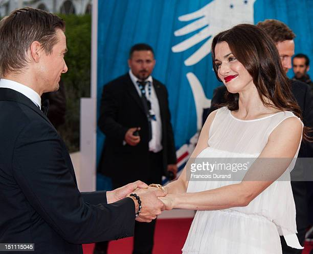 British actress Rachel Weisz and US actor Jeremy Renner arrive for the premiere of the film 'The Bourne Legacy' during 38th Deauville American Film...