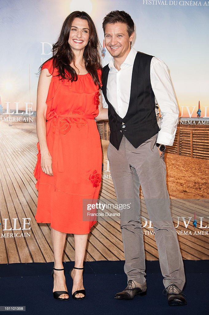 British actress Rachel Weisz and US actor Jeremy Renner (R) pose at 'The Bourne Legacy' Photocall during 38th Deauville American Film Festival on September 1, 2012 in Deauville, France.