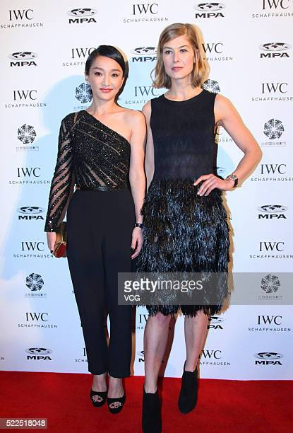 British actress Rosamund Pike and Chinese actress Zhou Xun attend a press conference of IWC Schaffhausen as part of the 6th Beijing International...