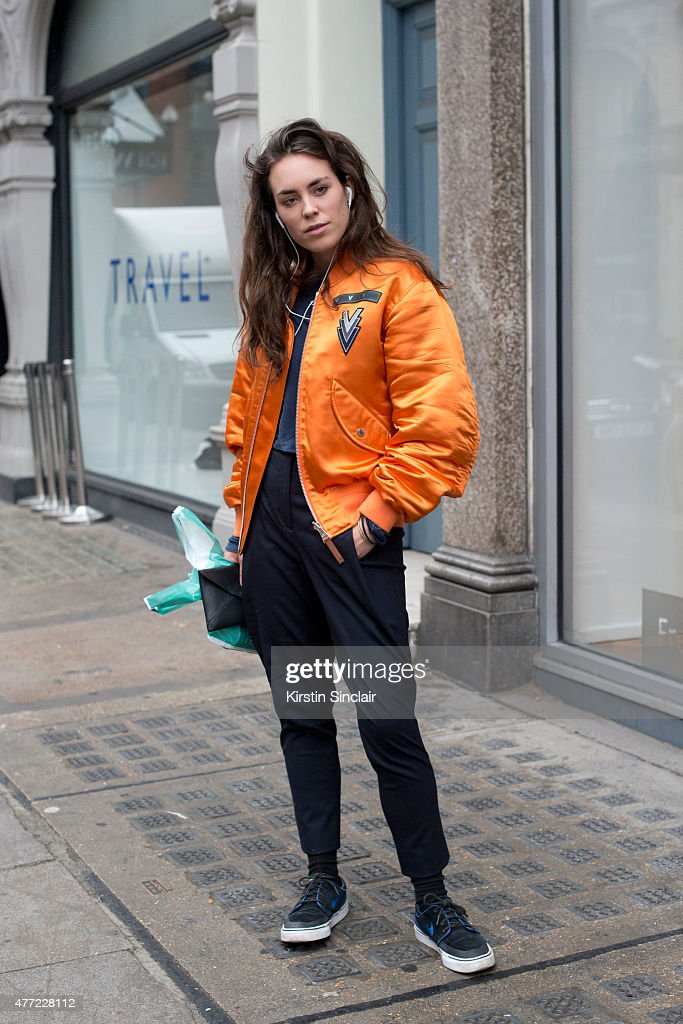 British Actress Tallulah Harlech wears all Louis Vuitton and Nike trainers on day 3 of London Collections Men on June 14 2015 in London England