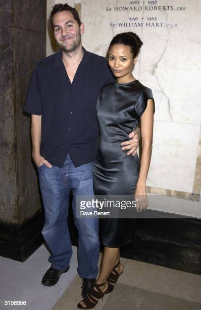 British actress Thandie Newton and Ol Parker arrive at the opening of the new Saatchi Gallery in County Hall with work by a range of artists...