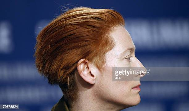 British actress Tilda Swinton addresses a press conference about the movie 'Julia' by French director Erick Zonca and presented in competition for...