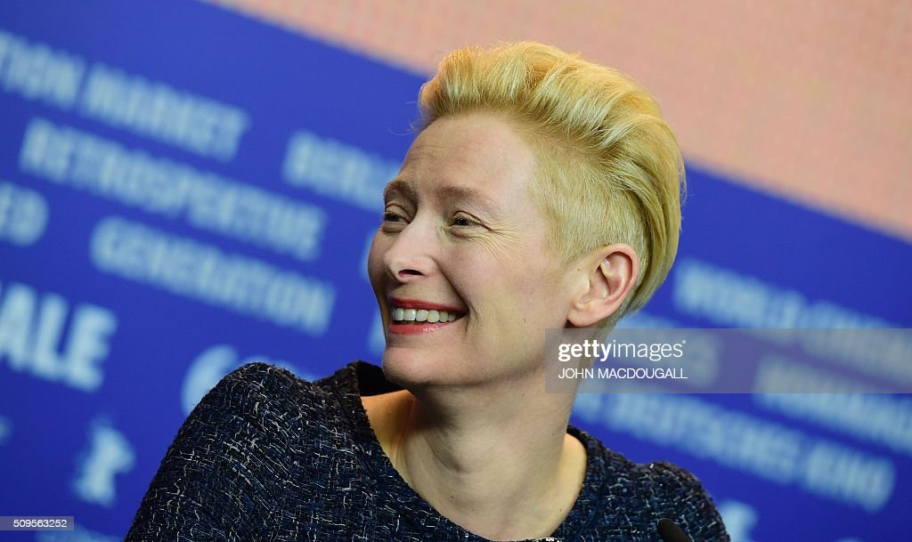 British actress Tilda Swinton attends a press conference for the film 'Hail, Caesar!' screened as opening film of the 66th Berlinale Film Festival in Berlin on February 11, 2016. The 66th Berlin film festival starts on February 11, 2016 with a spotlight on Europe's refugee crisis. / AFP / John MACDOUGALL