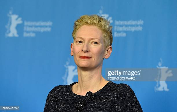 British actress Tilda Swinton poses during the photo call for the film 'Hail Caesar' screened as opening film of the 66th Berlinale Film Festival in...