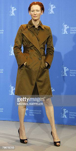 British actress Tilda Swinton poses during the photocall of the movie 'Julia' by French director Erick Zonca and presented in competition for the...